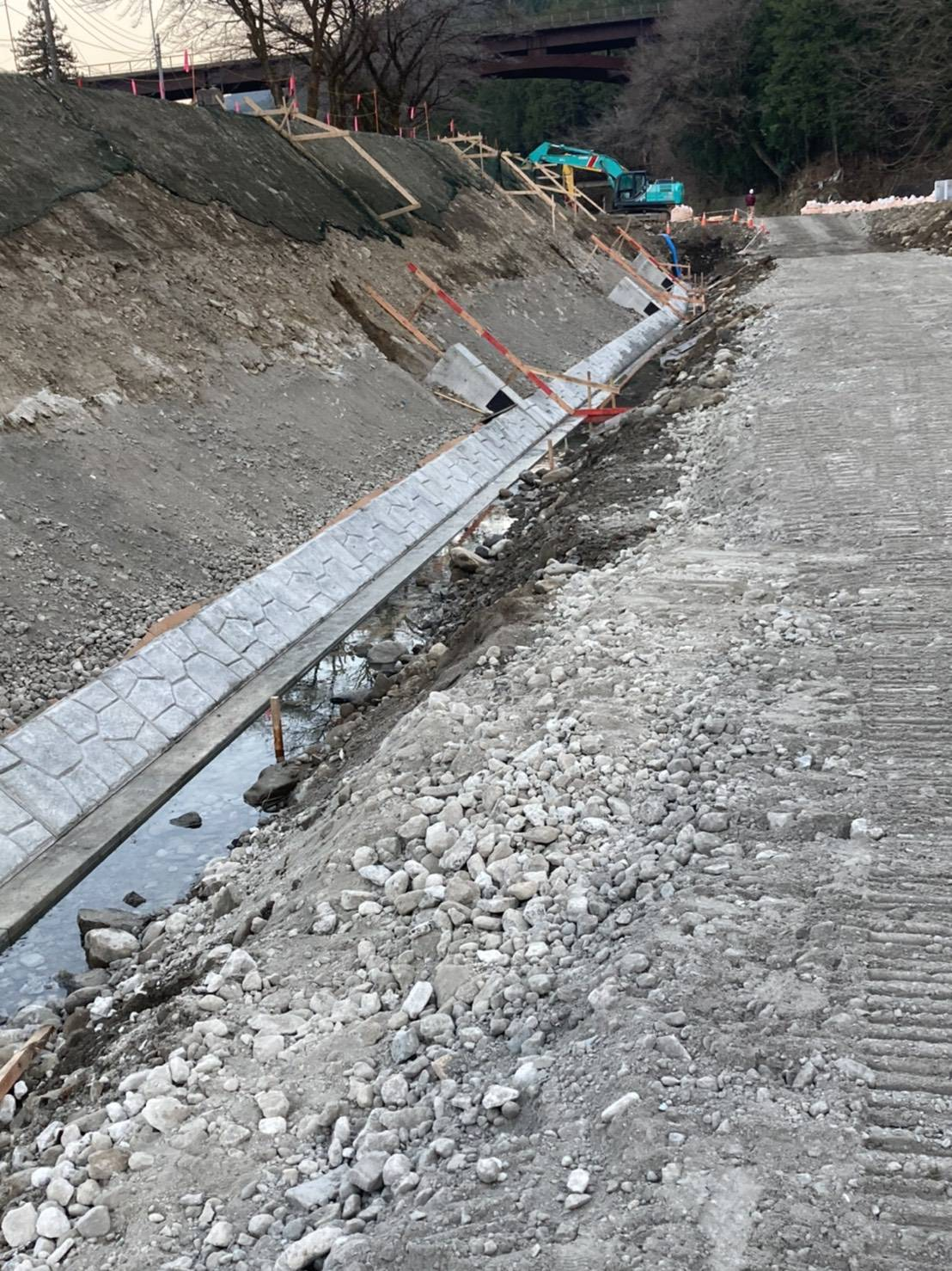 大型ブロック張り工事